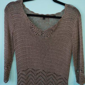 BCBG Max Azria Hand Crochet Knit Sweater